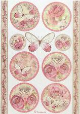 Carta di riso per decoupage, foglio di album, artigianale SHABBY ROSE, Farfalla