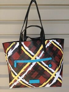 MARC JACOBS RUBY RED TOTE SHOPPER EAST WEST LEATHER HANDBAG MULTI PLAID NEW $328