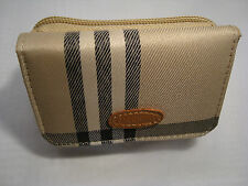 Beige Ladies Purse Wallet Compact Size with Check Patern Faccino Branded