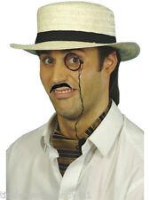 Da Uomo gondolier paese Gent Costume KIT Paglia Cappello monocle Tash Posh FANCY DRESS