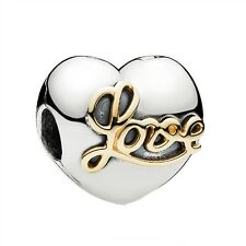 Pandora Sterling Silver & gold Heart of Love Clip charm new gift 791735