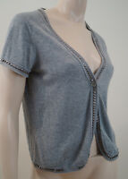 ZADIG & VOLTAIRE Grey 100% Cotton V Neck Short Sleeve Studded Cardigan Top Sz:S
