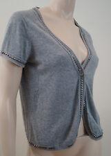 ZADIG & VOLTAIRE Grey 100% Cotton V Neck Short Sleeve Studded Cardigan Top Sz:S