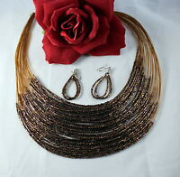 Gorgeous Sparkling Copper tone Beaded  Necklace & Earrings Set   CAT RESCUE