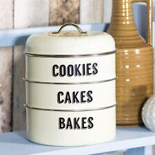 Stackable Storage Canisters Set Biscuit Jar Pot Cookie Barrel Vintage Cake Tins