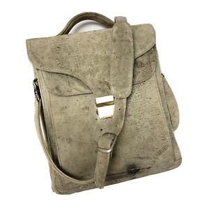 Vtg Sumdex Gray SHRUNKEN Shoulder Leather Briefcase Laptop Messenger Bag Satchel