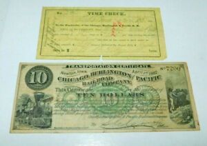 1882 Chicago,Burlington & Pacific Railroad $10 Transportation Certificate