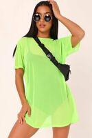 Ladies Womens Short Sleeve Oversized Black Sheer Mesh T-Shirt Dress Baggy Top
