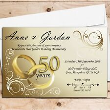 50 Personalised Golden 50th Wedding Anniversary Invitations Invites N1