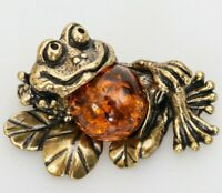 Frog Figurine. Brass and Natural Amber Toad Sculpture Figurine