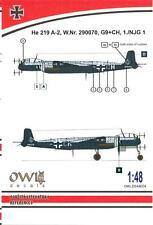 Owl Decals 1/48 HEINKEL He-219A-2 Night Fighter W.Nr. 290070 1./NJG.1