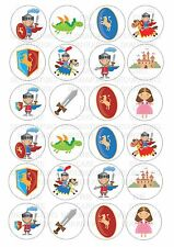 24 Knights  Wafer / Rice Paper Cupcake Topper Edible Fairy Cake Bun Toppers