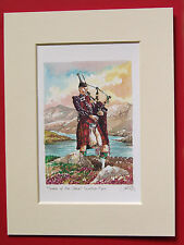 BAG PIPES BAGPIPER SCOTTISH SCOTLAND MOUNTED PRINT 8X6 EXCELLENT QUALITY VALUE
