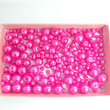 200 Assorted Sizes 4mm 6mm 8mm 10mm Glass Pearl Beads Fuchsia