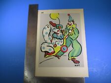 Vintage May Colorful Clown Pulling Clown in Wagon #188 Pressed Image S5324