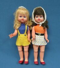 Vintage Mod 1960's Jointed Plastic 8� Dolls All Original with Mini Skirts