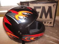Hacha de casco de motocicleta FM por fimez Extra Grande (XL) Negro Rojo Naranja R88