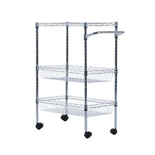 3-Tier Steel Kitchen Trolley Cart Island Wire Rack 2 Basket Shelf Stand Rolling