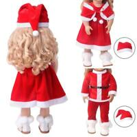 Cute Doll Clothes Santa Hat Dress Cape For 1 8-inch Girl Doll