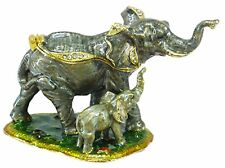 Elephant with Calf Jewelled & Enamelled Trinket Box or Figurine