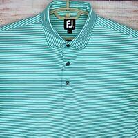 Footjoy FJ Men's Short Sleeve Performance Golf Polo Shirt Mint Green Striped XL