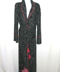 Soft Surroundings Midnight Garden Peony Robe Kimono PS Full Length Pockets Belt