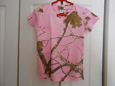 REALTREE CODE V PINK OLIVE PRINT COTTON TEE LEAVES AND BRANCHES