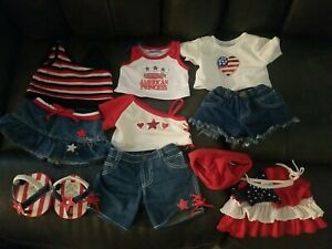 Build-A-Bear PATRIOTIC Red White Blue Clothes lot