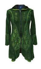 Gothic Goa Ethno Witchy Mantel Jacke Pixie Style Hoodie lange Kapuze grün 46 48