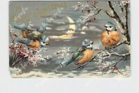 PPC POSTCARD MERRY CHRISTMAS BLUE BIRDS MOON SNOW COVERED TREES GOLD EMBOSSED