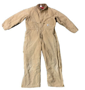 VTG 80's Carhartt Coveralls 100 Years Duck Quilted Lined  Size 40S Made USA
