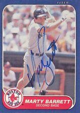 1986 Fleer #340 Signed Marty Barrett Red Sox 2B Autograph JSA