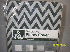 "Decorative Pillow Cover Chevron Grey/White 20"" X 20"" With Zipper New in Package"