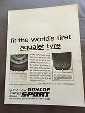 "VINTAGE 1960s DUNLOP ""SP SPORT"" AQUAJET TYRES ORIGINAL ADVERT"
