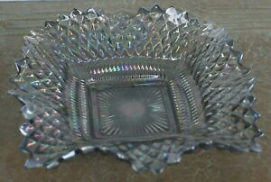 Vintage Indiana Glass Square Ruffled Clear Iridescent Ashtray or Candy Dish