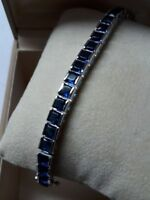 Vintage $3000 7ct Princess Blue Sapphire 14k White Gold Over Tennis Bracelet 7""