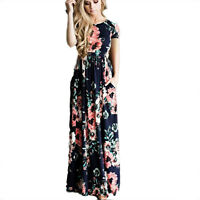 Womens Floral Holiday Long Maxi Dress Ladies Summer Party Dresses UK Size 6-14
