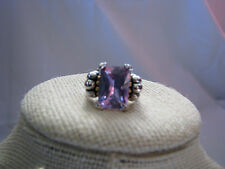 Ladies Emerald Cut Pink Amethyst 18KGE Ring Size 7