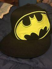 BATMAN NEON YELLOW AND BLACK LOGO  RARE RETRO  SCRIPT HAT CAP SNAPBACK