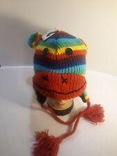 NWT Rainbow Sock Monkey Knit Beanie Unisex Cap Hat