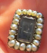 Antique Georgian Pearl and Hair Mourning Necklace Clasp Brooch