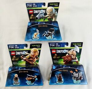 LEGO Dimensions - Lord of the Rings - Legolas/Gollum/Gimli Fun Packs - Used