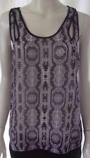 JUST JEANS Womens sleeveless Purple & Cream top size 8
