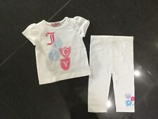 Juicy Couture New & Genuine Baby Girls 2 Piece Set In White Age 6/12 MTHS & Logo