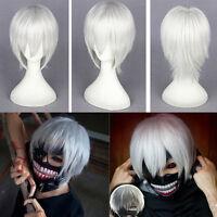 Cosplay Wig Tokyo Ghoul Kaneki Ken Silver White Short Straight Hair Costume Wigs