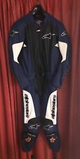 Tuta Alpinestars GPU Leather Suit, 2 pezzi, in pelle, TG: 50 bianco blu nero