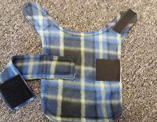 dog coat. fleece jacket .size xxs.  Blue check design