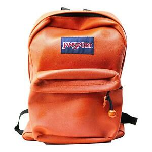 Jansport Leather Backpack Orange T501 Basketball Texture Vintage Unisex EUC