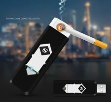USB Lighter Rechargeable Wind-Proof Flame-less Coil Black Electronic Smart Light