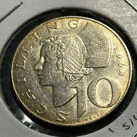 1968 AUSTRIA SILVER 10 SCHILLING NEAR UNCIRCULATED